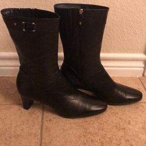 Cole Haan Black leather calf length boots